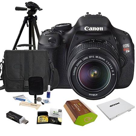 Canon EOS Rebel T3i DSLR Camera/ Lens Kit, with EF-S 18-55mm IS II Lens, 32 GB SD Memory Card, LowePro Camera Bag, Spare LP-E8 Battery, New leaf 3 Year (Spills & Drops) Warranty, USB 2.0 SD Card Reader, Cleaning Kit, Memory Wallet, Sunpack Tripod
