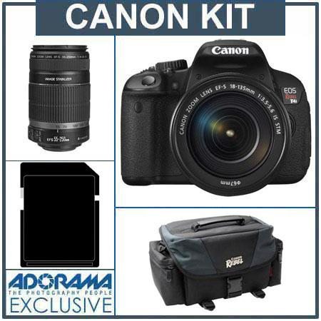Canon EOS Rebel T4i Digital SLR Camera Kit with EF-S 18-135mm f/3.5-5.6 IS STM Lens - U.S.A. - Bundle - with Canon EF-S 55-250mm f/4-5.6 IS Lens, USA