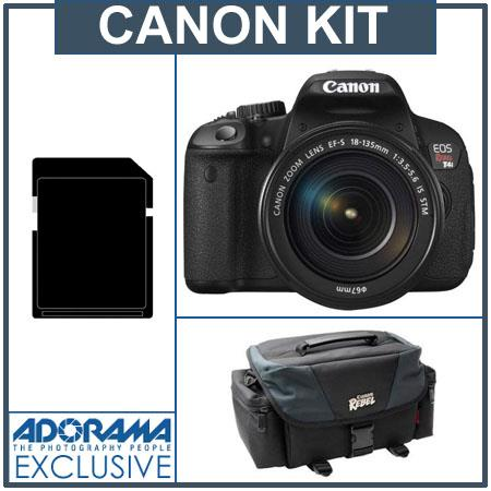 Canon EOS Rebel T4i Digital SLR Camera Kit with EF-S 18-135mm f/3.5-5.6 IS STM Lens - U.S.A. - Bundle - with 16GB SD Memory Card, Canon 200DG Deluxe Gadget Bag