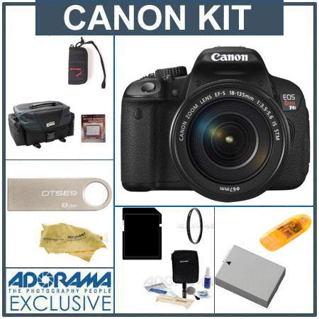 Canon EOS Rebel T4i Digital SLR Camera Kit with EF-S 18-135mm f/3.5-5.6 IS STM Lens - U.S.A. - Bundle - with 32GB SD Memory Card, Canon 200DG Deluxe Gadget Bag, Spare LP-E8 Battery, Cleaning Kit, Screen Protector