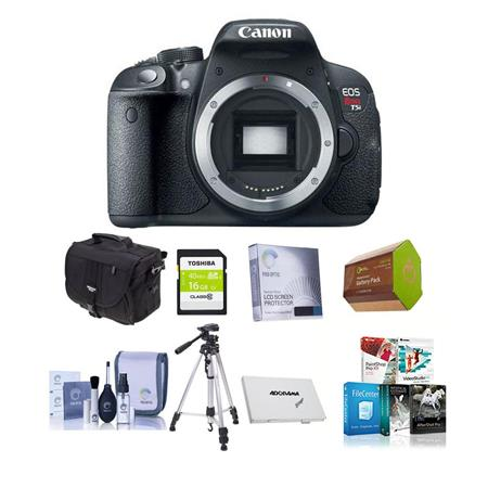 Canon EOS Rebel T5i Digital SLR Camera Body - Bundle - with 16GB SDHC Memory Card, Camera Carrying Case, Newleaf 3 Year Warranty, Lens Cleaning Kit, Sunpack Flexpod Pro Gripper, Memory Wallet
