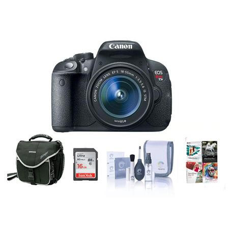 Canon EOS Rebel T5i Digital SLR Camera with EF-S 18-55mm f/3.5-5.6 IS Lens - Bundle - with 16GB SDHC Memory Card, Camera Carrying Case - With Special Professional Software Package (Includes Corel PaintShop Pro X7, Corel AfterShot Pro 2, Nuance OnmiPage 18, FileCenter Standard 7)