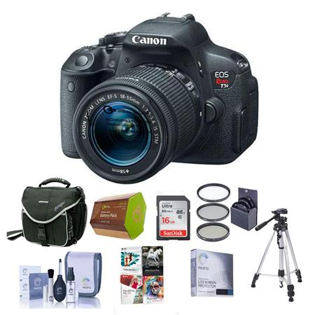 Canon EOS Rebel T5i Digital SLR Camera with EF-S 18-55mm f/3.5-5.6 IS Lens - BUNDLE - with 16GB SDHC Memory Card, Camera Carrying Case, Spare Battery, Newleaf 3 Year Warranty, Lens Cleaning Kit, 58mm UV Filter, Dedicated Glass Screen Protector