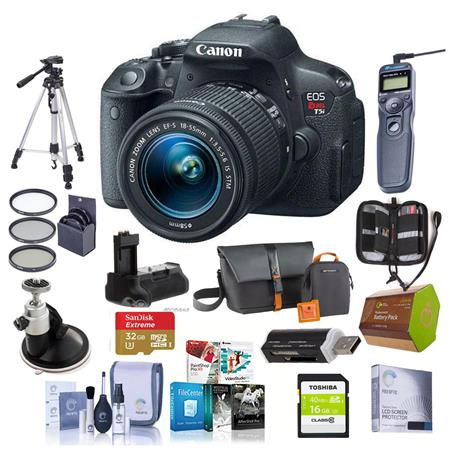 Canon EOS Rebel T5i Digital SLR Camera with EF-S 18-55mm f/3.5-5.6 IS Lens - BUNDLE - With 32GB SDHC Extreme Memory Card, Top Load Zoom Case, New Leaf 3 Year (Drops & Spills) Warranty, Cleaning Kit, 58mm Dig. Filter Kit, Battery Grip, Spare Battery , Memo