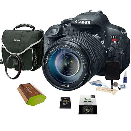 | Canon EOS Rebel T5i Digital SLR Camera with EF S 18 135mm f/3.5 5.6 IS STM Lens   Bundle   with 16GB SDHC Memory Card, Camera Carrying Case, New Leaf 3 Year Warranty, Spare Battery, Lens Cleaning Kit, Pro optic 67mm UV Filter