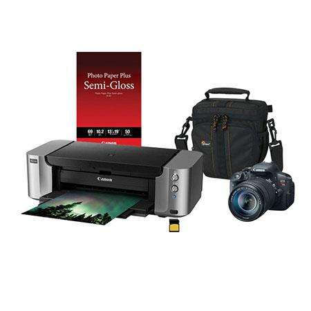 Canon EOS Rebel T5i DSLR Camera with EF-S 18-135mm f/3.5-5.6 IS STM Lens,- Bundle With PIXMA PRO-100 Pro Photo Inkjet Printer, 13x19 semi Gloss IJ Paper, 16GB Class 10 SDHC Card, Camera Bag