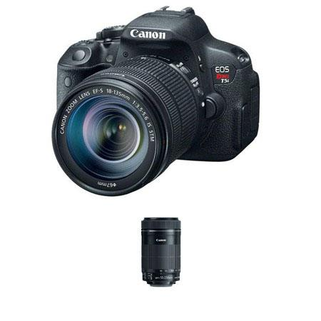 Canon EOS Rebel T5i DSLR Camera with 18-135mm STM IS Lens - Bundle - with Canon EF-S 55-250mm f/4-5.6 IS STM Lens
