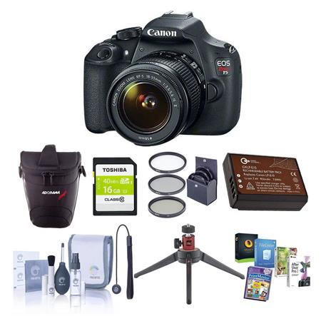 Canon EOS Rebel T5 Digital SLR Camera Kit with EF-S 18-55mm f/3.5-5.6 IS II Lens Bundle With 16GB Class 10 SDHC Memory Card, Pro-Optic 58 MC Filter Kit, Slinger Holster Case, Spare LP-E10 Battery, Cleaning Kit, SD Card Reader, Table Top Tripod, Capleash II