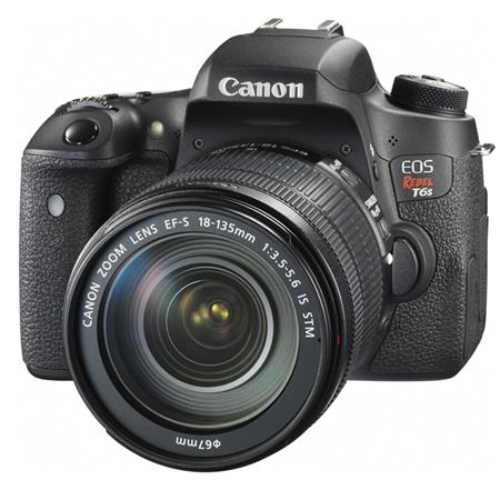 "Canon EOS Rebel T6s DSLR Camera with EF-S 18-135mm f/3.5-5.6 IS STM Lens, 24.2MP, 3"" LCD Display, 1/8"" Microphone, AV/USB Multi, HDMI C, Built-In Wi-Fi/NFC"
