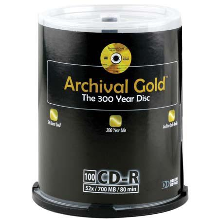 Delkin CD-R Archival Gold 700mb, 74 Minute, 100 Pack on Cakebox Spindle image