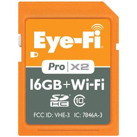 Eye-Fi Pro X2 16GB WiFi Class 10 SDHC Memory Card - write speeds of 22MBps