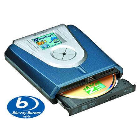 EZDigiMagic DM220-BD Hi-speed Portable Photo and Video Backup Blu-ray/DVD/CD Burner with Viewer, Direct USB/Memory Card Recording, iPhone, iPad Compatible