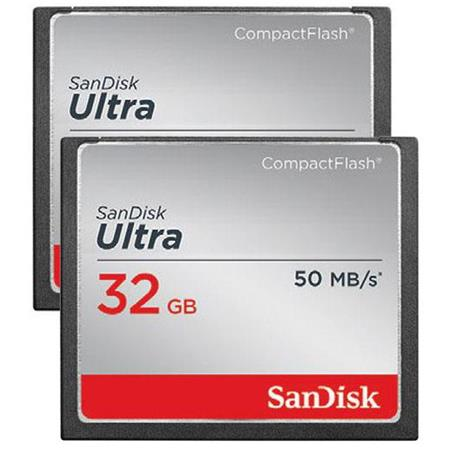 SanDisk 2 X 32GB Ultra Compact Flash Memory Card for DSLR & HD Camcorder, 50 Read/30 Write Speed
