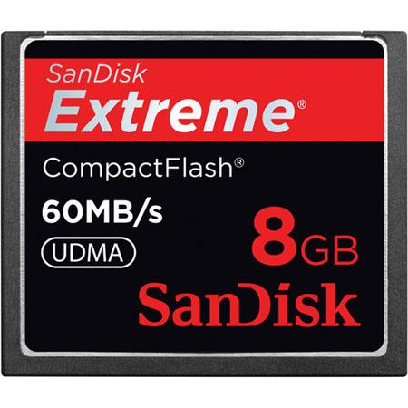 SanDisk 8GB Extreme Compact Flash Memory Card - Up to 60MB/S Read/Write, UDMA Enabled