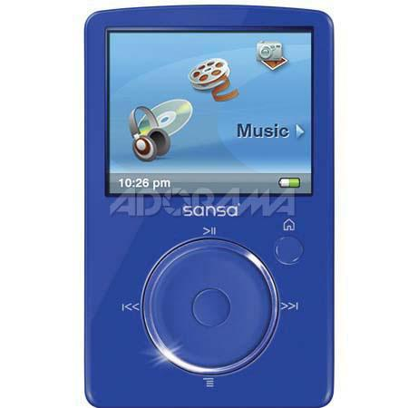 "SanDisk Sansa Fuze, 4 GB MP3 Player with 1.9"" Color LCD Screen & 40 Preset Station FM Radio - Blue image"