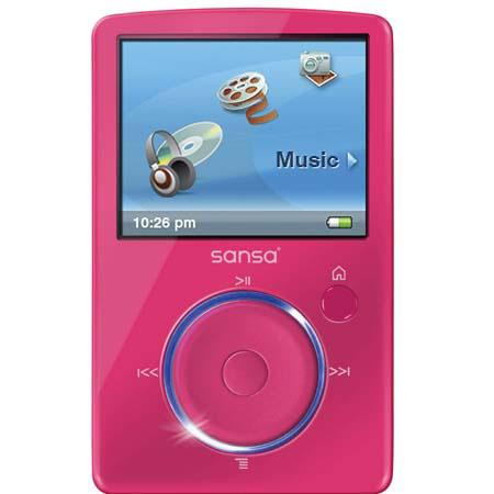 "SanDisk Sansa Fuze, 4 GB MP3 Player with 1.9"" Color LCD Screen & 40 Preset Station FM Radio - Pink image"