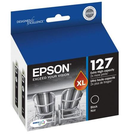 Epson T127120-D2 127 Dual Pack Extra High-Capacity Black Ink Cartridge for Stylus NX625, Workforce 630 633, 635 Printers