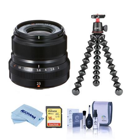 Fujifilm XF 23mm (35mm) F/2R WR Lens, Black - Bundle With Joby GorillaPod 3K Kit Black, 16GB U3 SDHC Card, Cleaning Kit,...