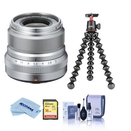Fujifilm XF 23mm (35mm) F/2R WR Lens, Silver - Bundle With Joby GorillaPod 3K Kit Black, 16GB U3 SDHC Card, Cleaning Kit,...