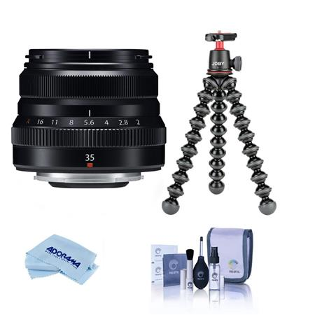 Fujifilm XF 35mm F/2 R WR Lens, Black - Bundle With Joby GorillaPod 3K Kit Black, Cleaning Kit, Microfiber Cloth