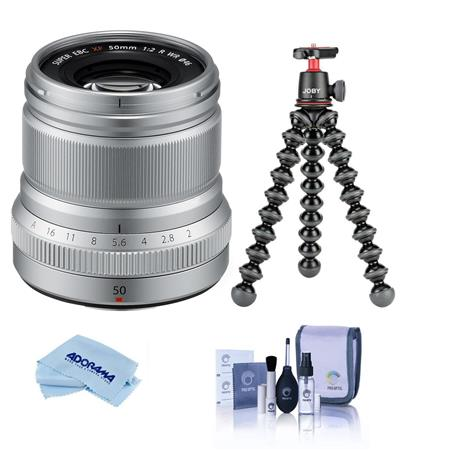 Fujifilm XF 50mm (76mm) F/2 WR Lens, Silver - Bundle With Joby GorillaPod 3K Kit Black, Cleaning Kit, Microfiber Cloth