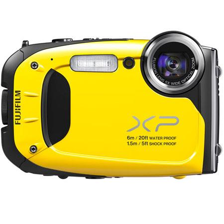 "Fujifilm FinePix XP60 Waterproof Digital Camera, 16.4 MP, 1/2.3"" CMOS, 2.7"" LCD, 5x Optical Zoom, 1920x1080 pixels HD Movie Recording, Yellow"
