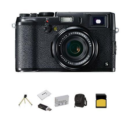 Fujifilm X100S Digital Black/Black Camera, 16.3 Megapixel - Bundle - with Multi-Card Reader, 32GB Class 10 Memory Card, Case , Spare Battery, Memory Card Holder, Mini Tabletop Tripod