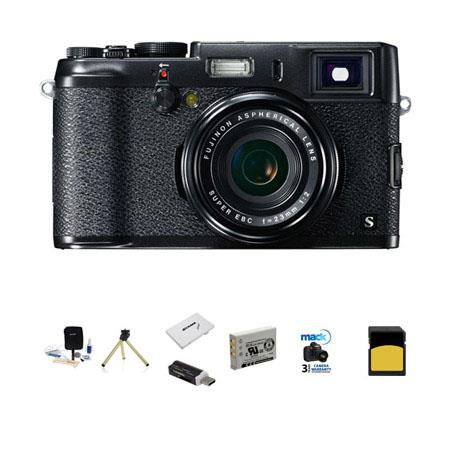 Fujifilm X100S Black/Black Digital Camera - Bundle - with Mack 3 Year Extended Warranty - Flashpoint Mini Multi-Card Reader, Lexar 32GB Class 10 Pro Memory Card, NP-95 Spare Battery, Memory Card Holder, Adorama 9-pc Cleaning Kit, Mini Tabletop Tripod, Pro