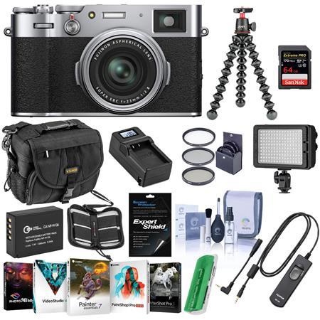 Fujifilm X100V Digital Camera, Silver - Bundle With Camera Case, 64GB SDXC Card, Fujifilm RR-100 Remote Release, Joby...