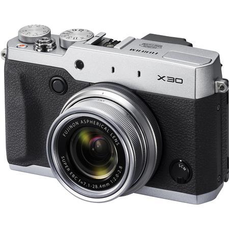 Fujifilm X30 Digital Camera, Silver, 12MP, Fujinon 4x Optical Zoom Lens, 28-112mm (35mm Equivalent) , Tilting 3.0