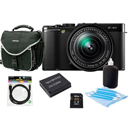 Fujifilm X-A1 Mirrorless Digital Camera with 16-50mm Lens - Bundle With NP-W126 Spare Battery, 16Gb Class 10 SDHC Card, Slinger Camera Bag, Cleaning Kit, Mini HDMI Cable 6 Ft