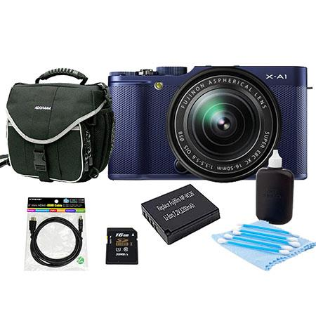Fujifilm X-A1 Mirrorless Digital Camera with 16-50mm Lens Indogo Blue - Bundle With NP-W126 Spare Battery, 16Gb Class 10 SDHC Card, Slinger Camera Bag, Cleaning Kit, Mini HDMI Cable 6 Ft