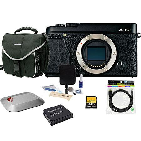 Fujifilm X-E2 Mirrorless Digital Camera Body Black - Bundle With Spare NP-W126 Battery, 32GB Class 10 SDHC Card, Slinger camera Bag, Cleaning Kit, Mini HDMI Cable 6-FT, Sandisk 16GB Memory Vault