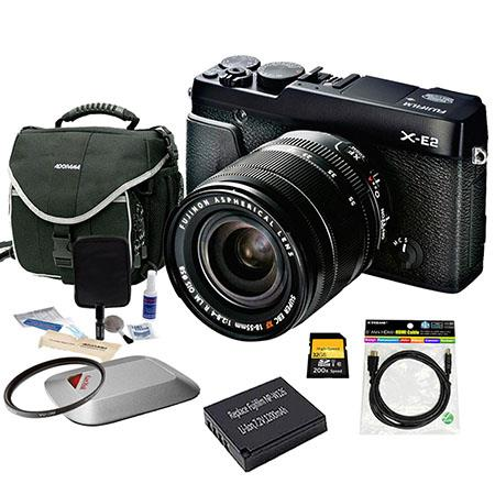 Fujifilm X-E2 Mirrorless Digital Camera Kit with XF 18-55mm F2.8-4 R LM OIS Lens Black - Bundle With Spare NP-W126 Battery, 32GB Class 10 SDHC Card, Slinger camera Bag, Cleaning Kit, Mini HDMI Cable 6-FT, 58mm UV Filter, Sandisk 16GB Memory Vault