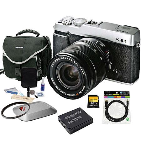 Fujifilm X-E2 Mirrorless Digital Camera Kit with XF 18-55mm F2.8-4 R LM OIS Lens Silver - Bundle With Spare NP-W126 Battery, 32GB Class 10 SDHC Card, Slinger camera Bag, Cleaning Kit, Mini HDMI Cable 6-FT, 58mm UV Filter, Sandisk 16GB Memory Vault