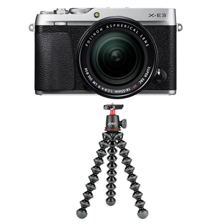 Fujifilm X-E3 Mirrorless Camera, Silver, with XF 18-55mm f/2.8-4 R LM OIS Zoom Lens - WITH Joby GorillaPod 3K Kit, Black