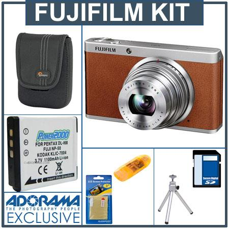 Fujifilm XF1 Digital Camera, 12MP, 4x Optical / 2x Digital Zoom, Brown - Bundle - with SanDisk 16GB Ultra SDHC UHS-I Memory Card, USB 2.0 Secure Digital & M