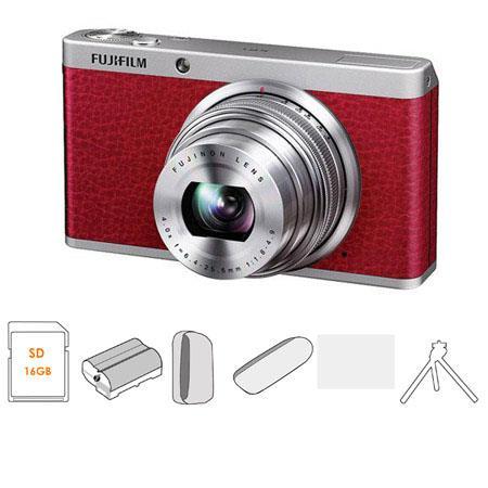 Fujifilm XF1 Digital Camera, 12MP, 4x Optical / 2x Digital Zoom, Red - Bundle - with SanDisk 16GB Ultra SDHC UHS-I Memory Card, USB 2.0 Secure Digital & MMC