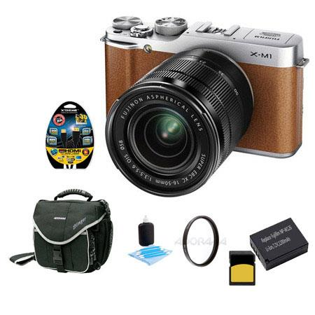 Fujifilm X-M1 Mirrorless Digital Camera Body with XC 16-50mm F3.5-5.6 OIS Lens - Brown - Bundle With Slinger Camera Bag, 32GB Class 10 SDHC Card, Spare NP-W126 Battery, Cleaning Kit, 6 Foot HDMI Cable, 58MM UV Filter