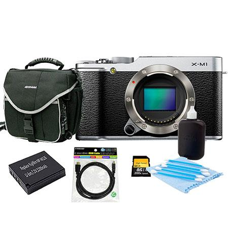 Fujifilm X-M1 Mirrorless Digital Camera Body Silver - Bundle With Slinger Camera Bag, 32GB Class 10 SDHC Card, Spare NP-W126 Battery, Cleaning Kit, 6 Foot HDMI Cable