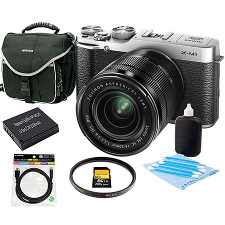 Fujifilm X-M1 Mirrorless Digital Camera Body with XC 16-50mm F3.5-5.6 OIS Lens - Silver - Bundle With Slinger Camera Bag, 32GB Class 10 SDHC Card, Spare NP-W126 Battery, Cleaning Kit, 6 Foot HDMI Cable, 58MM UV Filter