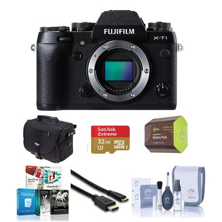 Fujifilm X-T1 Mirrorless Digital Camera Body, Black - Bundle With Spare NP-W126 Battery, 32GB Class 10 SDHC Card, Slinger camera Bag, Cleaning Kit, Mini HDMI Cable 6-FT, Sandisk 16GB Memory Vault