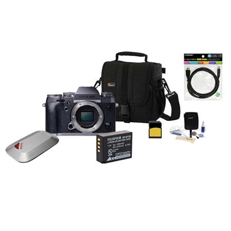 Fujifilm X-T1 Mirrorless Digital Camera Body, - Bundle With Spare Battery, 32GB Class 10 SDHC Card, Camera Bag, Cleaning Kit, HDMI Cable, 16GB Memory Vault