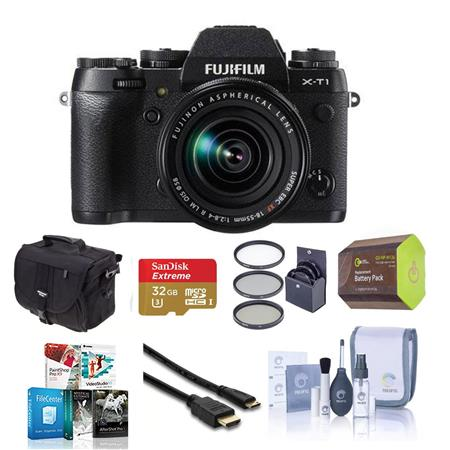 Fujifilm X-T1 Mirrorless Digital Camera, Black with 18-55mm Lens - Bundle With Spare NP-W126 Battery, 32GB Class 10 SDHC Card, Slinger camera Bag, Cleaning Kit, Mini HDMI Cable 6-FT, 58mm UV Filter, Sandisk 16GB Memory Vault