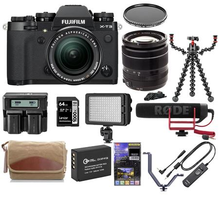 Fujifilm X-T3 Mirrorless Camera Body Black with XF 18-55mm f/2.8-4 R LM Lens - Bundle With Joby GorillaPod Rig, Fuji Camera...