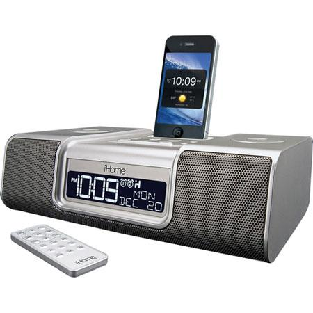 iHome IA9S App-Enhanced Dual Alarm Clock Radio for iPhone/iPod, Silver