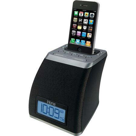 iHome IP21G Spacesaver App-Friendly Alarm Clock for iPhone and iPod, Gunmetal