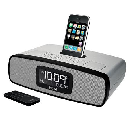 iHome iP90SK Dual Alarm Clock Radio for iPhone/iPod with AM/FM Presets, Remote Control, Silver