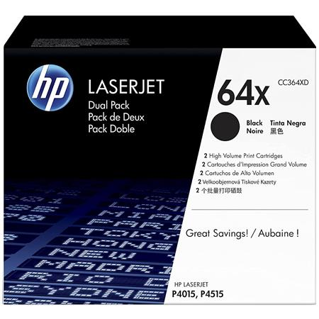 HP Dual-Pack of CC364X High Yield LaserJet Black Print Cartridges for LaserJet P4015 Printer Series (Yield: Appx. 24,000 Copies each)