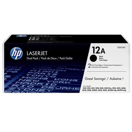 Hewlett Packard - HP Q2612AD Black Print Cartridge Dual Pack for Select HP Laserjet Printers (Yield: Appx 2,000 Copies) image